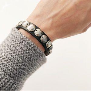 Jewelry - Black faux leather bracelet silver studs